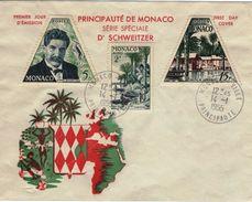 MONACO  412 à 414 FDC 80ème Anniversaire Albert SCHWEITZER Lambaréné Hôpital Prix Nobel Paix - Albert Schweitzer