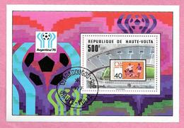 République De HAUTE-VOLTA - BURKINA FASO - 1977 Bloc 9 Coupe Du Monde De Football Argentine 1978 - Oblitéré - Haute-Volta (1958-1984)