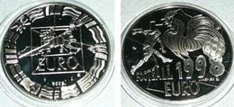 Rare Monnaie/Médaille Football 1998, 50 Euro, Euros, Essai, Drapeaux Européens Europe, Etat Neuf, Coq Foot Football - Fictifs & Spécimens