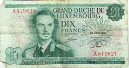 Billet. Luxembourg. Dix Francs. 20 Mars 1967. - Luxembourg
