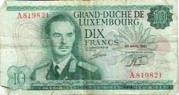 Billet. Luxembourg. Dix Francs. 20 Mars 1967. - Luxemburg