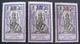LOT R3586/908 - 1922 - COLONIES FR. - INDE - N°56 à 58 NEUFS* - India (1892-1954)
