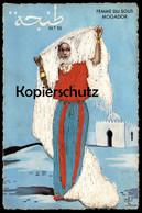 ALTE SEIDEN POSTKARTE FEMME DU SOUS MOGADOR Seide Seidenkarte Ansichtskarte AK Cpa Postcard - Ansichtskarten