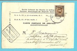 319 Op CARTE DE SERVICE Met Spoorwegstempel OOSTENDE KAAI / OSTENDE QUAI 8 - 1931-1934 Kepi
