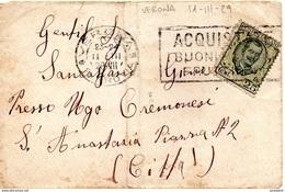 VERONA (TARIFFA DISTRETTO) Per Città DOPPIA TARGHETTA, 11.3.1929 Lettera Affrancata Con 25c. Floreale -1/29 - Storia Postale