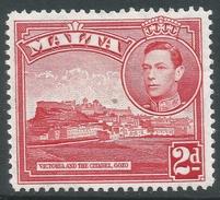 Malta. 1938-43 KGVI. 2d Red MH SG 221b - Malta