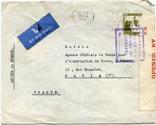 PALESTINE LETTRE PAR AVION CENSUREE DEPART TEL AVIV 20 FEB 40 POUR LA FRANCE - Palestine