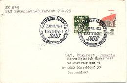 Denmark First SAS DC-9 Flight Copenhagen - Bukarest 7-4-1973 Sent To Germany - Denmark