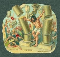 Chromo Découpis Oblate Glanzbild Temple Rabbin Synagogue Judaica Jewish Juive Juif ,Super état - Immagine Tagliata