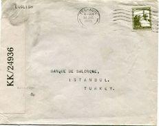 PALESTINE LETTRE CENSUREE DEPART TEL-AVIV 20 JNE 1945 POUR  LA TURQUIE - Palestine