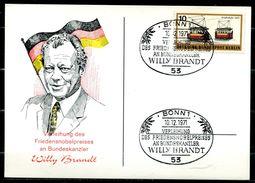 """Germany 1971 Sonderkarte Nobelpreis Für Willi Brandt Mit Mi.Nr.Berlin 379 Und SST""""Bonn-Verleihung Des Friedens..""""1 Karte - Nobel Prize Laureates"""