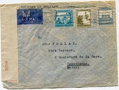 PALESTINE LETTRE PAR AVION CENSUREE DEPART TEL-AVIV 26 MAI 1943 POUR LE MAROC - Palestine