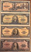 C) CUBA-CARIBBEAN BANK NOTES 4 PCS 10+20+50+100 (1954,1958,1960) - Cuba