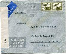 PALESTINE LETTRE PAR AVION CENSUREE DEPART TEL-AVIV 23 MAI 1945 POUR LA FRANCE - Palestine