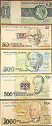 C) BRAZIL BANK NOTES CRUZEIROS 5PC (1+50+200+500+1000) UNC NEW - Brazil