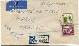 PALESTINE LETTRE RECOMMANDEE PAR AVION DEPART TEL-AVIV 13 MY 47 POUR LA FRANCE - Palestine