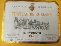 4579 -  Château De Rolland 1986 Sauternes - Bordeaux