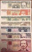 """C) CUBA-CARIBBEAN BANK NOTES 7 PCS UNC 1+3+5+10+20+50+100 """"2002 TO 2015"""" - Cuba"""