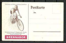 Deutschland Reklamepostkarte Brennabor Fahrrad Weltrekordmann F. Hauptmann Rennfahrer - Cycling