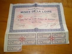 Mines De La Loire: Action De 100 Francs De La Société Anonyme Des Mines De La Loire, Gravure Des Puits Et Des Bâtiments - Actions & Titres