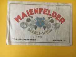 4591 -  Maienfelder Beerli-Wein 1960 Grisons Suisse état Moyen - Etiquettes