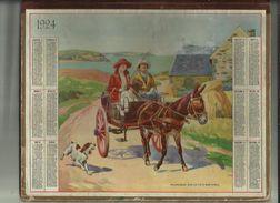Calendrier Des Postes G-F  De Bretagne De 1924 Pages Cartonnée Epais ( Promenade Sur La Cote Bretonne ) - Big : 1921-40