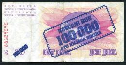 336a-Bosnie-Herzegovine Billet De 100000  Dinara Sur 10 Dinara 1993 JG881 - Bosnia And Herzegovina