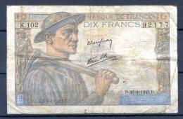 456-France Billet De 10 Francs 1945 D K102 - 1871-1952 Circulated During XXth