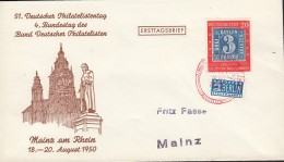 BRD 115 OR EF, Auf Sonderumschlag 51 Dt. Philatelistentag BDPh, Mit Rotem SoSt: 4. Bundestag Mainz 19.AUG 1950 - BRD