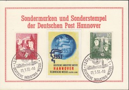 BRD 153-154, Auf Sonderkarte Mit Vignette Und SoSt: Hannover Deutsche Industrie-Messe 1.5.1953, Jugend 1952 - BRD