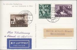 Mischfrankatur ÖSTERREICH 646-647/ DEUTSCHES REICH 660, Mit Luftpost, St: Innsbruck 10.IV.1938, PROPAGANDA - Allemagne