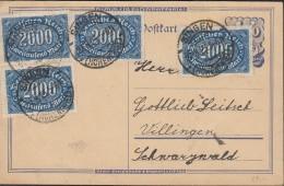 INFLA DR 4x 253 A MeF Auf PK Mit Stempel : Singen 27.8.1923 - Infla