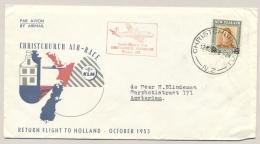 New Zealand - 1953 - Returnflight Christchurch Air-race To Amsterdam / Nederland - 1949-1980 (Juliana)