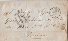 1859 Brief/Lettre Torino → Stempel/Oblitération : Torino 25 GIU 59 - TORINO-ARRIVI 25 GIU 59 - Lombardo-Vénétie
