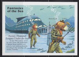"SIERRA LEONE (1996) Submarine*. Men In Diving Helmets And Suits*.  Imperforate S/S.  Fantasies Of The Sea Series - ""Twen - Fairy Tales, Popular Stories & Legends"