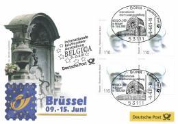 Germany 2001 Mi. 2185 Block Of 4 On Expo Cover Belgica 9-Jun-2001 Brussels Illustr. Manneken Pis, Europa Water - Briefmarkenausstellungen