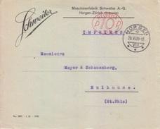EMA Suisse 10 (253 Sté Schneiter), Lettre De Horgen Le 28 VI 1926 Pour Mulhouse - Frankiermaschinen (FraMA)