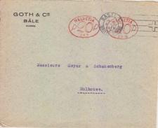 EMA Suisse 20 X 2 (289 Sté GOTH), Lettre De Bâle (flamme Croix Rouge) Le 8 XI 1926 Pour Mulhouse - Affranchissements Mécaniques