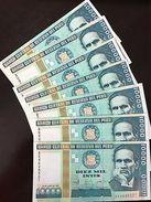 C) PERU BANK NOTE 10,000 INTIS 7PCS (1988) CESAR BALLEJO- UNC - Peru