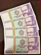 C) PERUVIAN BANK NOTE 5,000 INTIS 4PCS (1988) UNC- MIGUEL GRAU - Peru