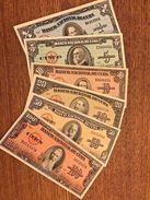 C) CUBA-CARIBBEAN BANK NOTE 6 PC SET 1+5+10+20+50+100 PESOS 1958,59,60 EXCELLENT. - Cuba
