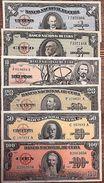 C) CARIBBEAN BANK NOTE 6 PC SET 1+5+10+20+50+100 PESOS 1959,60 EXCELLENT. - Cuba
