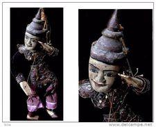Petite Marionnette Birmane Membre De La Cour Royale / Small Burmese String Puppet Member Of The Royal Court - Art Asiatique