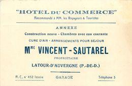 """LATOUR-D'AUVE (63) - """"HÔTEL DU COMMERCE"""" Mme. VINCENT SAUTAREL -  CARTE  COMMERCIALE ANCIENNE  (8 X 12 Cm) - 1929. - France"""