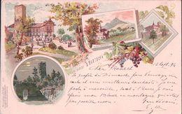 Allemagne, Gruss Von Der Yburg, Neuweier, Litho 1896 (14.9.96) - Baden-Baden