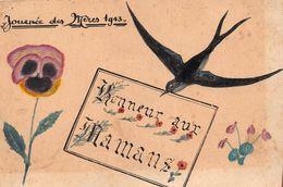 ¤¤  -  Carte Peinte à La Main  - Journée Des Mères 1943  -  Honneur Aux Mamans  -  Hirondelle, Fleurs  -  ¤¤ - Fête Des Mères