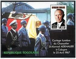 Togo, 1987, Death Of Adenauer, MNH, Michel Block 296 - Togo (1960-...)