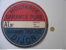 ANCIENNE Enseigne Etiquette Vierge Boite MOUTARDE ALEXANDRE TRUCHOT DIJON - Signs