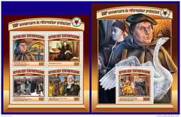 CENTRAL AFRICA 2017 ** 500th Anniversary Of Reformation Martin Luther M/S+S/S - OFFICIAL ISSUE - DH1714 - Theologians