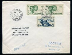 """France / Madagascar - Enveloppe """" Troisième Circuit De Vitesse De Tananarive -  Ivato En 1954 - Ref JJ 123 - Madagascar (1889-1960)"""